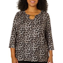 Cathy Daniels Plus Embellished Animal Print Chain Link Top