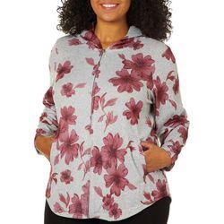 Cathy Daniels Plus Heathered Floral Zip Up Hoodie
