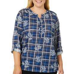 Cathy Daniels Plus Floral Plaid Print Roll Tab Top