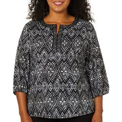 Cathy Daniels Plus Diamond Print Jewel Neck Top