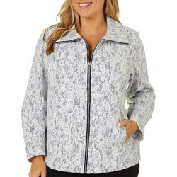 Cathy Daniels Plus Lace Zippered Long Sleeve Jacket