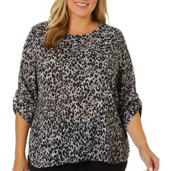 Cathy Daniels Plus Embellished Leopard Print Roll Tab Top
