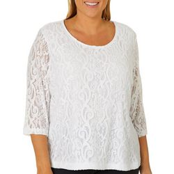 Cathy Daniels Plus Scroll Lace Top