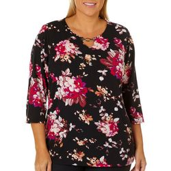 Cathy Daniels Plus Floral Chain Link Keyhole Top