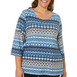 Cathy Daniels Plus Mixed Damask Stripe Print Top