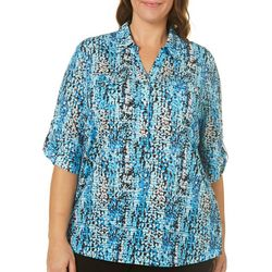 Cathy Daniels Plus Scatter Dot Print Roll Tab Top