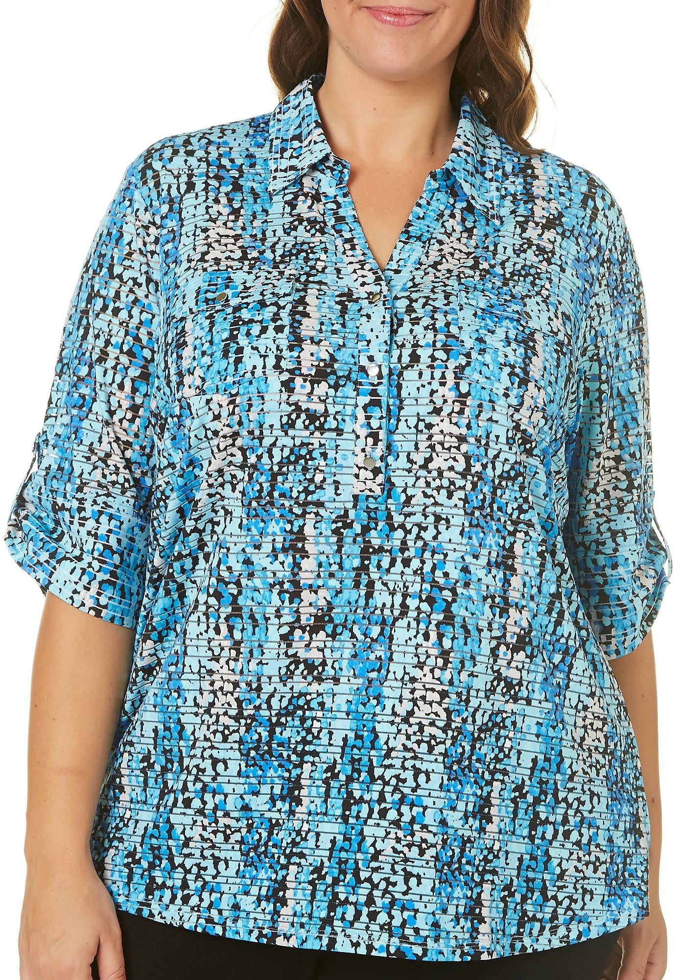 f035846176838 Details about Cathy Daniels Plus Scatter Dot Print Roll Tab Top 1X  Blue white black