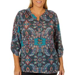 Cathy Daniels Plus Paisley & Sheer Stripe Roll Tab Top
