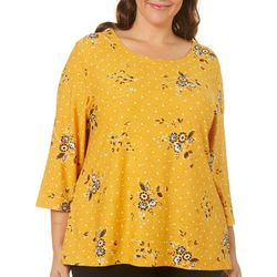 Cathy Daniels Plus Textured Floral Dot Print Top
