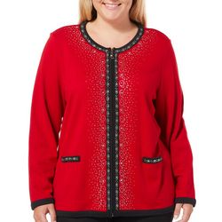Cathy Daniels Plus Solid Jeweled Zip Up Cardigan
