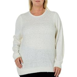 Cathy Daniels Plus Embellished Solid Fuzzy Sweater