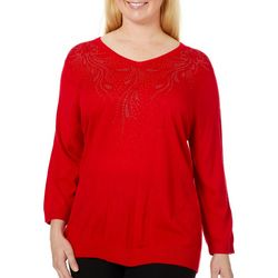 Cathy Daniels Plus Solid Rhinestone V-Neck Sweater