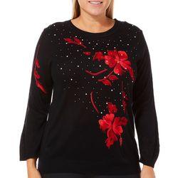 Cathy Daniels Plus Embellished Scarlet Flower Sweater