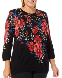 Cathy Daniels Plus Embellished Floral Print Sweater