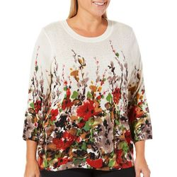 Cathy Daniels Plus Embellished Watercolor Floral Sweater