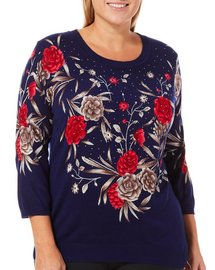 Cathy Daniels Plus Embellished Rose Sweater