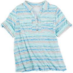 Plus Stripe Pocket Roll Tan Top