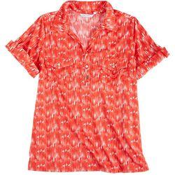 Emily Daniels Plus Print Short Sleeve Button Blouse