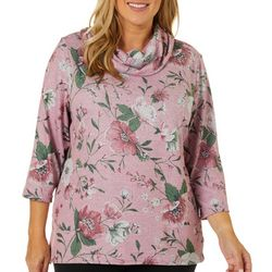 Cathy Daniels Plus Floral Embellished Cowl Neck Top