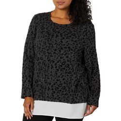 Cathy Daniels Plus Leopard Print Faux Layer Long Sleeve Top