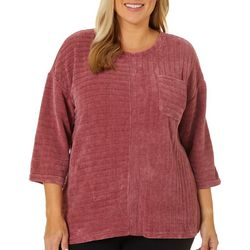 Cathy Daniels Plus Solid Ribbed Chenille Top