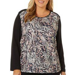 Cathy Daniels Plus Leopard Print Embellished Long Sleeve Top