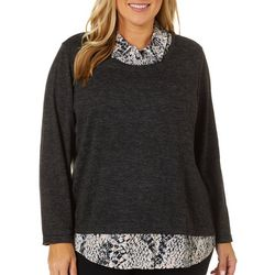 Cathy Daniels Plus Faux Layer Long Sleeve Top