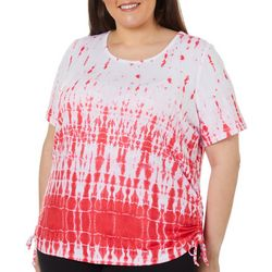 Cathy Daniels Plus Tie Dye Ruched Side Tie Detail Top