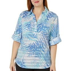 Cathy Daniels Plus Palm Print Burnout Stripe Top