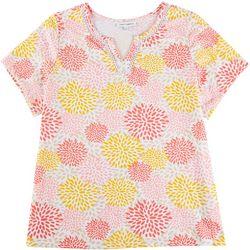 Emily Daniels Plus Floral Split Neck Top