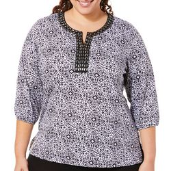 Cathy Daniels Plus Scroll Damask Jeweled Neck Top