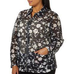 Cathy Daniels Plus Floral Burnout Zip Up Jacket