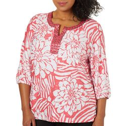 Cathy Daniels Plus Tropical Floral Jewel Neck Top