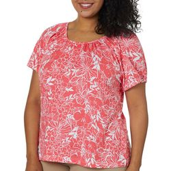 Cathy Daniels Plus Embellished Tropical Floral Top