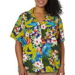 Cathy Daniels Plus Palm Print Button Down Short Sleeve Top