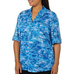 Cathy Daniels Plus Sheer Stripe Palm Tree Print Top