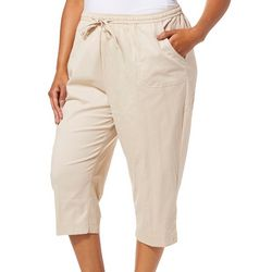 Cathy Daniels Plus Drawstring Pull On Button Hem Capris