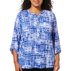 Cathy Daniels Plus Tie Dye Printed Sheer Stripe Top