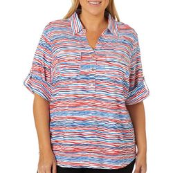 Cathy Daniels Plus Americana Wavy Striped Roll Tab Top