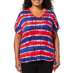 Cathy Daniels Plus Embellished Striped V-Neck Top