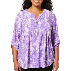 Cathy Daniels Plus Textured Print Roll Tab Sleeve Top
