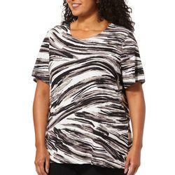 Cathy Daniels Plus Painted Stripe Print Top