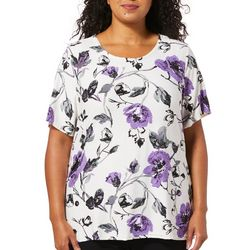Cathy Daniels Plus Textured Floral Print Short Sleeve Top