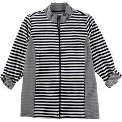 Plus Striped Zip Up Jacket