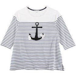 Emily Daniels Plus Striped 3/4 Sleeve Top