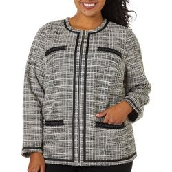 Cathy Daniels Plus Plaid Zippered Long Sleeve Jacket