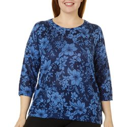 Cathy Daniels Plus Floral Jewel Embellished Sweater
