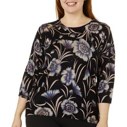 Cathy Daniels Plus Jeweled Feminine Floral Print Sweater