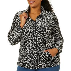 Cathy Daniels Plus Animal Front Zip Jacket