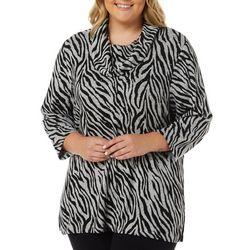 Plus Embellished Zebra Cowl Neck Top
